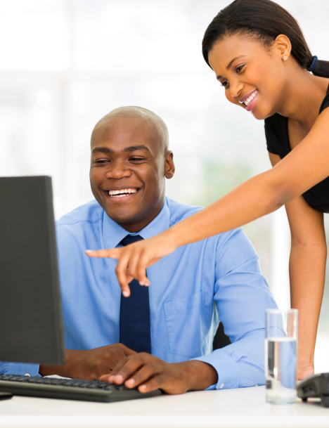 African businesspeople working
